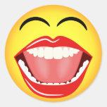 Pegatina redondo de risa amarillo del Emoticon de