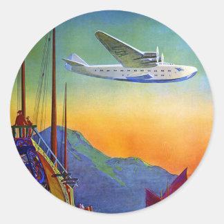 Pegatina redondo del arte transpacífico del viaje