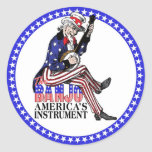Pegatina redondo del banjo de América