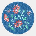 Pegatina redondo del batik floral de Aiyana