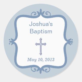 Pegatina redondo del bautismo cruzado azul