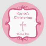 Pegatina redondo del bautismo cruzado rosado