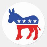 Pegatina redondo del burro de Demócrata