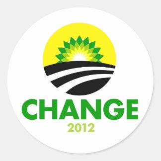 Pegatina redondo del cambio 2012 de Obama