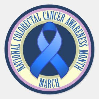 Pegatina redondo del cáncer del mes colorrectal de