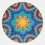 Pegatina redondo del círculo del teñido anudado