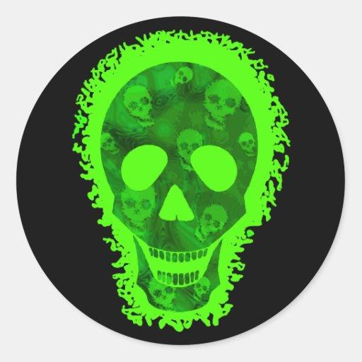 Pegatina redondo del cráneo grande de los espectro