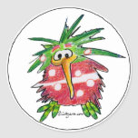 Pegatina redondo del dibujo animado del pájaro div