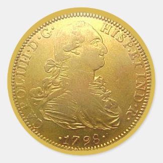 Pegatina redondo del doblón español del oro