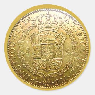 Pegatina redondo del doblón II español del oro