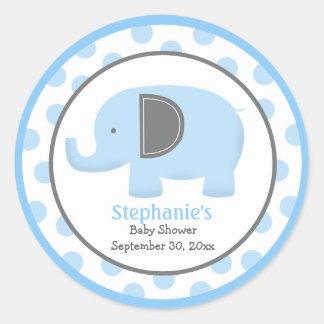 Pegatina redondo del elefante azul y gris de la