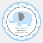 Pegatina redondo del elefante azul y gris de la MO