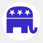 Pegatina redondo del elefante republicano
