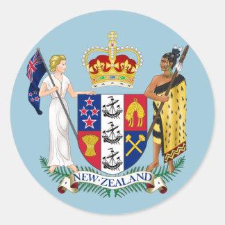 Pegatina redondo del escudo de Nueva Zelanda