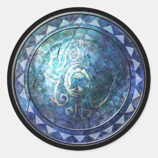 Pegatina redondo del escudo - emblema azul de Sun