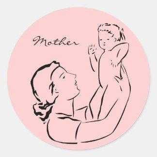 Pegatina redondo del esquema de la madre y del