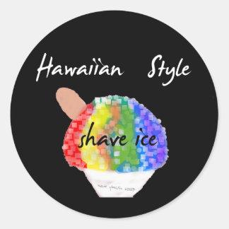 Pegatina redondo del estilo del hielo hawaiano del