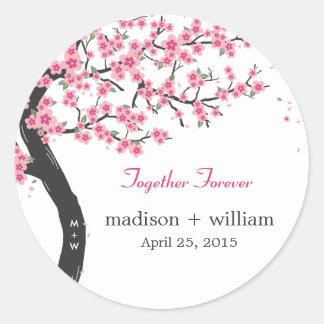 Pegatina redondo del favor de las flores de cerezo