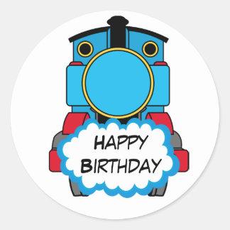 Pegatina redondo del feliz cumpleaños del tren