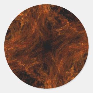 Pegatina redondo del fractal abstracto anaranjado