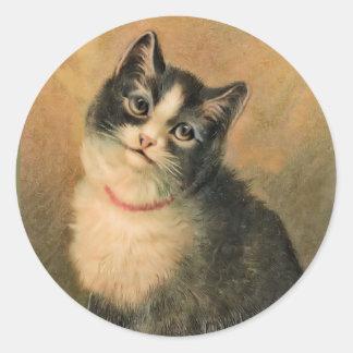 Pegatina redondo del gato blanco y negro
