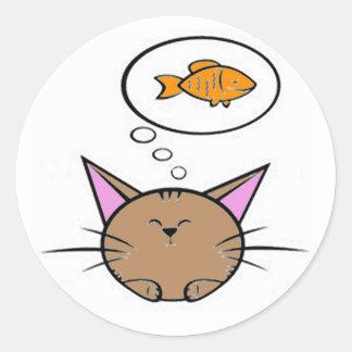 pegatina redondo del gato y de los pescados