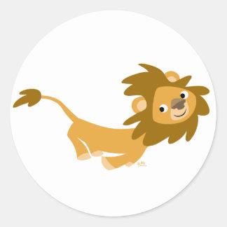 Pegatina redondo del león corriente lindo