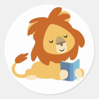 Pegatina redondo del león del dibujo animado de la