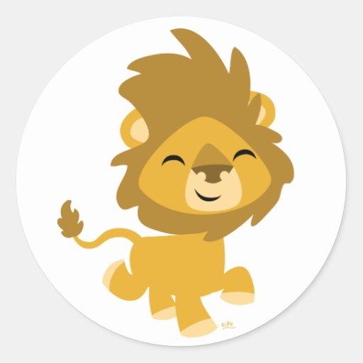 Pegatina redondo del león feliz del dibujo animado | Zazzle