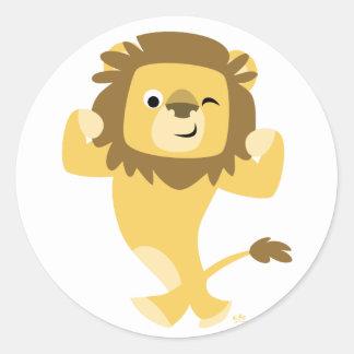 Pegatina redondo del león fuerte del dibujo