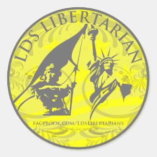 Pegatina redondo del libertario de LDS