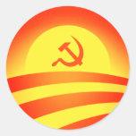 Pegatina redondo del logotipo de Obama del Commie