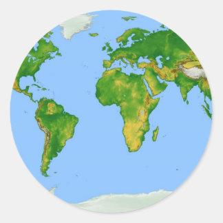 Pegatina redondo del mapa del mundo