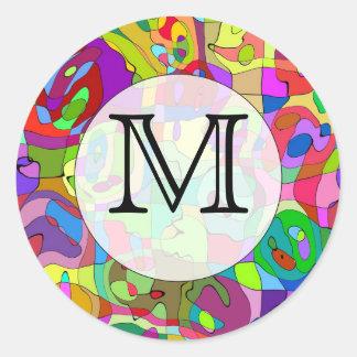 pegatina redondo del modelo abstracto colorido