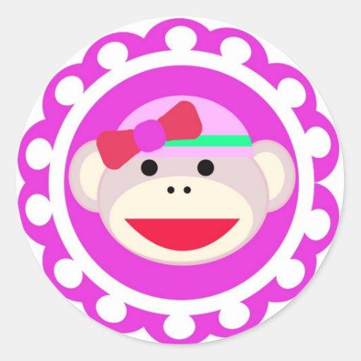 Pegatina redondo del mono