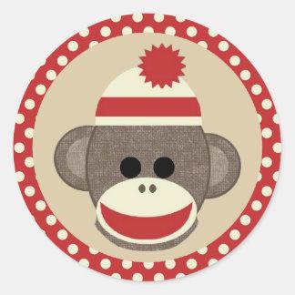 Pegatina redondo del mono del calcetín del