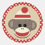 Pegatina redondo del mono del calcetín del muchach