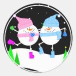 Pegatina redondo del muñeco de nieve feliz