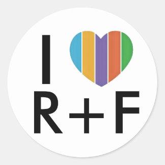 Pegatina redondo del RF del corazón I