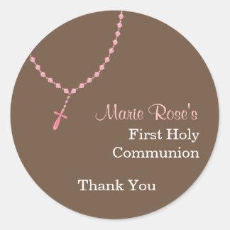 Pegatina redondo del rosario rosado