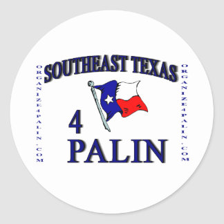Pegatina redondo del SE Texas4Palin