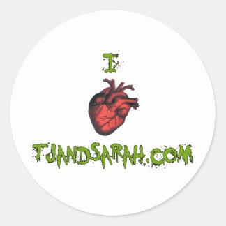 Pegatina redondo del tjandsarah del corazón I