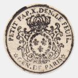 Pegatina redondo del viejo sello francés del docum