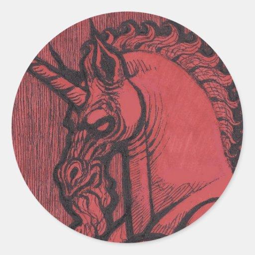 Pegatina redondo grande 3inch del unicornio rojo