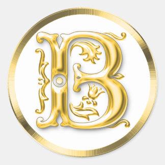Pegatina redondo inicial de B en oro