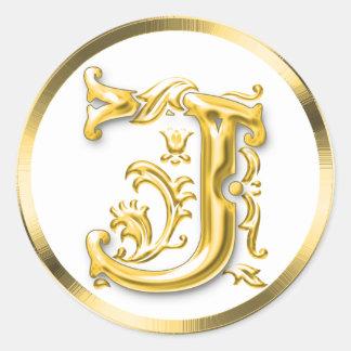 Pegatina redondo inicial de J en oro
