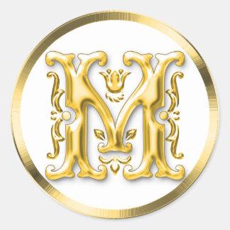 Pegatina redondo inicial de M en oro