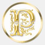 Pegatina redondo inicial de P en oro