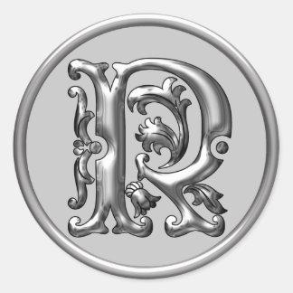 Pegatina redondo inicial de R en plata