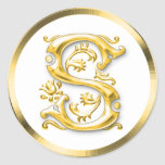 Pegatina redondo inicial de S en oro